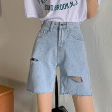 Denim Capris Women's Summer 2021 New High Waist With Holes And Rough Edges Wear Light Color Loose Wi