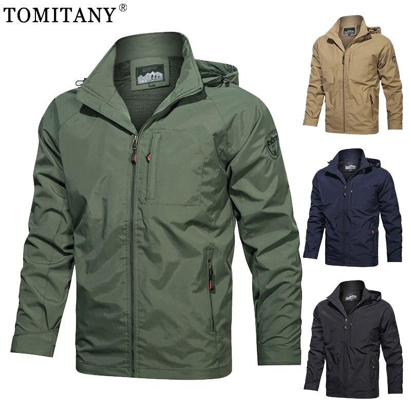 Мужская куртка-бомбер с капюшоном, водонепроницаемая куртка-бомбер в стиле милитари, тактическая куртка-бомбер для походов, 5XL, на осень и ве...
