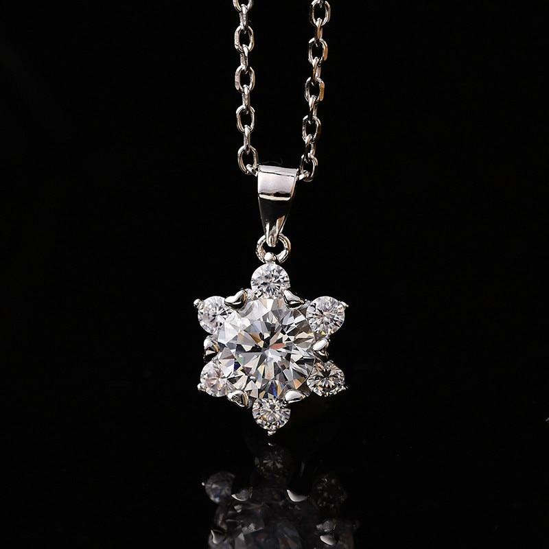 S925 prata esterlina corrente colar 1ct (6.5mm) moissanite pingente branco d cor feminina luxo fino jóias transporte da gota