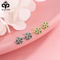 s925 silver emerald zircon stud earrings female heart shaped hollow frosty style earrings korean fashion crystal stud earrings