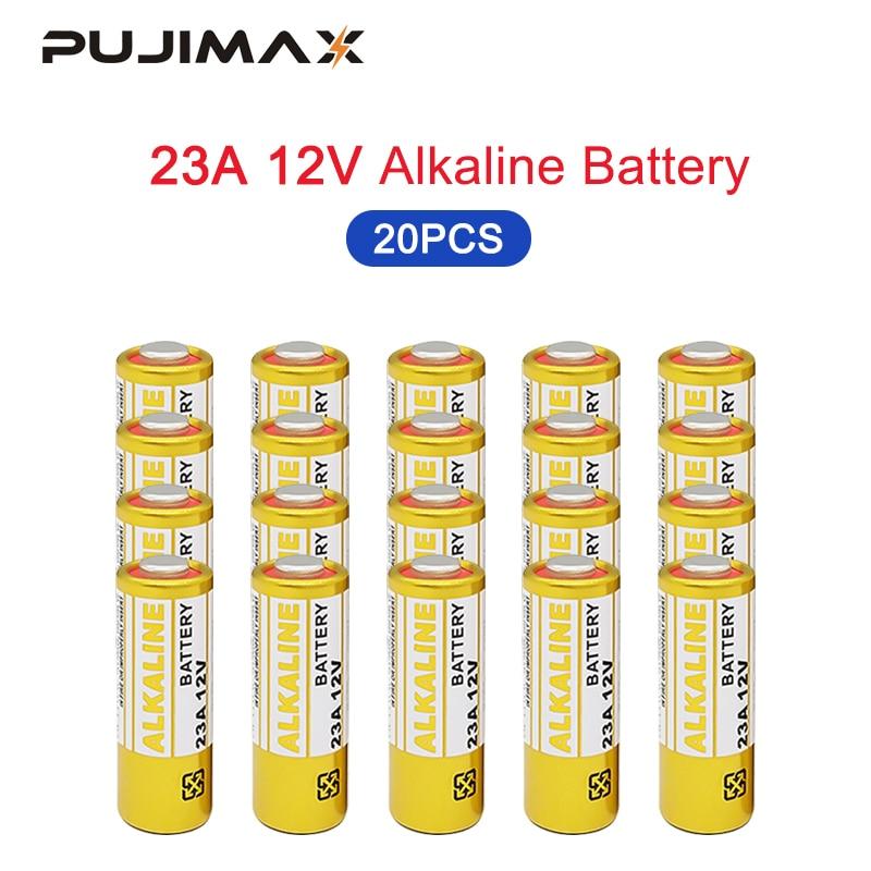Batería seca alcalina desechable PUJIMAX 12V 23A 20 piezas K23A 23GA CA20 23GA batería eléctrica para coche