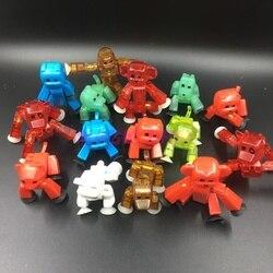 Figuras de brinquedo pegajoso 8cm, pçs/set, robô, ação, com sucção, animais de plástico deformáveis, figura cola bot, brinquedos