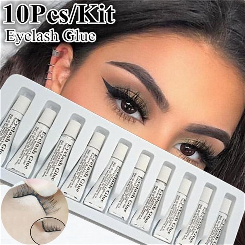 10Pcs/set Professional Eyelash Glue for lashes Strong Clear/Dark Waterproof Eye Lash Glue Adhesive Extensions for Makeup Tools недорого
