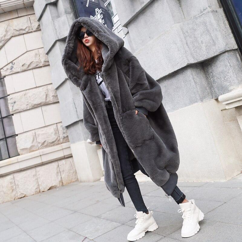 2020 Gray Coat Women's Autumn Winter New Rex Rabbit Fur Thickened Outwear Long Zipper Long Sleeve Hooded Fur Coat Female E456