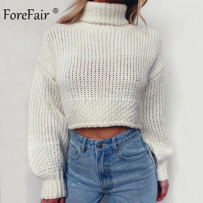 Jersey de manga larga Forefair para mujer, cuello alto, corto, ajustado, Blanco, Negro, Jersey de punto cálido, jersey de calle de invierno