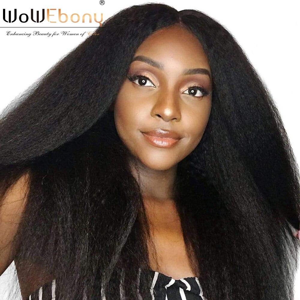WoWEbony 250 density Brazilian Kinky Straight Human Hair Wigs 13x1 T Part Lace Front Wig For Black Women Full End Kinky Straight