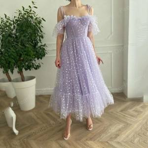 Vintage Arabic Lilac Evening Dresses with Spaghetti Straps Ankle Length Formal Party Gowns 2021 Robe Dubai Women Long Prom Dress