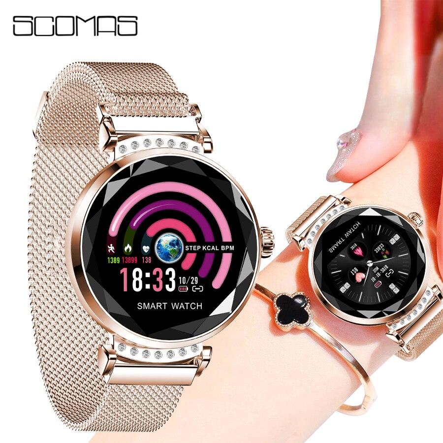 Reloj inteligente de moda para mujer SCOMAS, pantalla redonda de 1,01 pulgadas, Monitor de frecuencia cardíaca y presión arterial IP67, reloj inteligente resistente al agua para iOS y Android