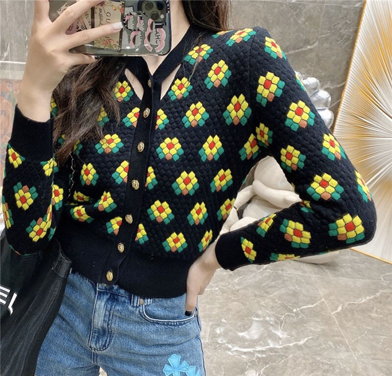 Floral Jacquard Knitted Cardigan Women Contrast Color Rhombic Lattice Sweater Coat 2020 Fall V Neck Single Breasted Cardigans enlarge