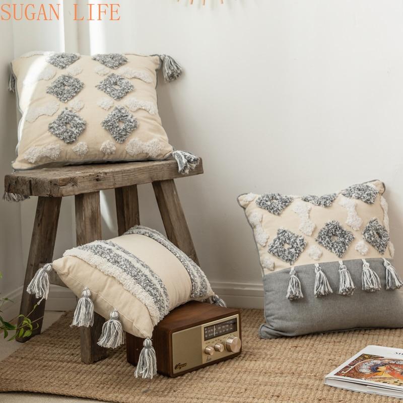Funda de cojín de estilo marroquí, borlas de Tuft hechas a mano Neutral, decoración para funda de almohada 45x4 5cm/30x50cm para sofá cama gris marfil