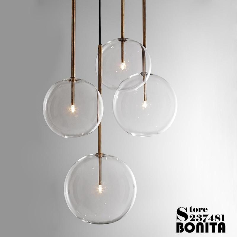 Irregular de vidrio redondo Cable de luz colgante Lava chapado en oro rosa/oro/plata colgante moderno lámparas Led espejo de esquina