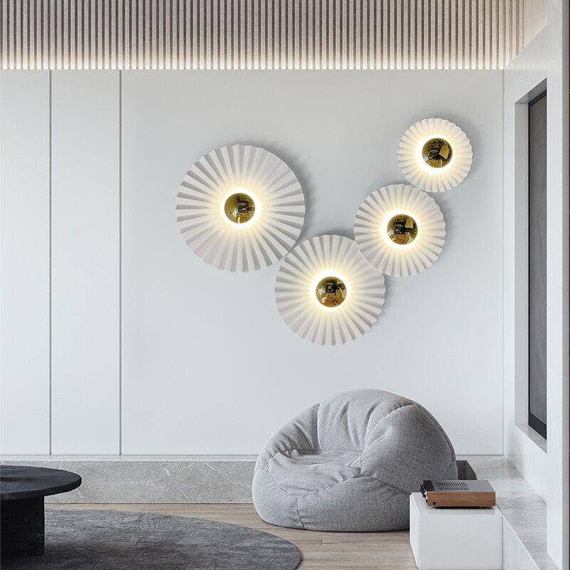 الإبداع الحديث الذهب تصفيح لوتس داخلي وحدة إضاءة Led جداريّة مصابيح المدخل الدرج الشمعدان نوم الجدار الديكور تركيبات