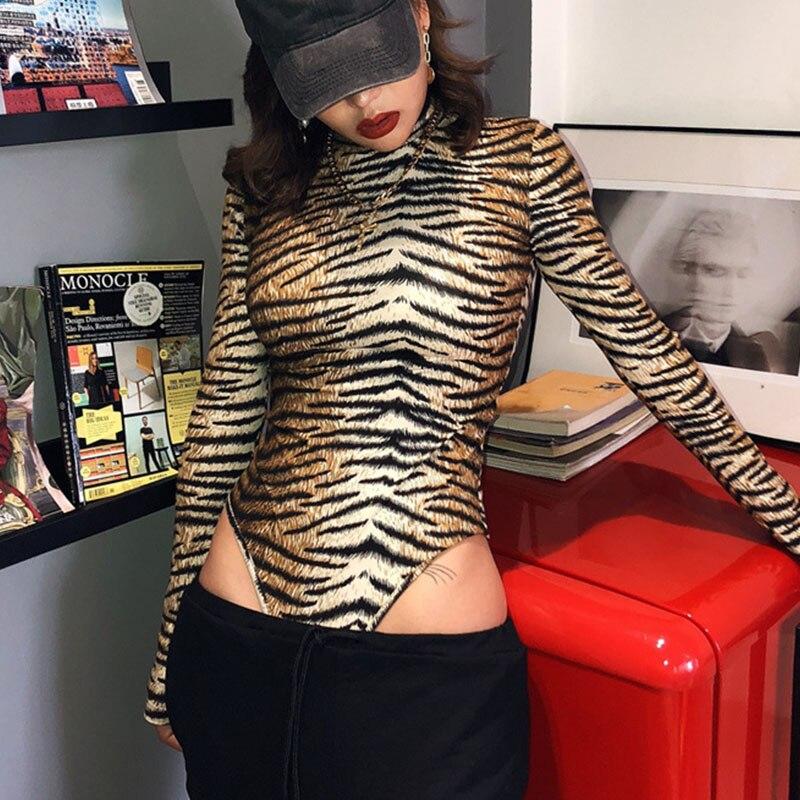 2019, зимний женский сексуальный боди, осенняя мода, Повседневный, длинный рукав, С Рисунком Тигра, леопарда, водолазка, бодикон, боди для женщи...