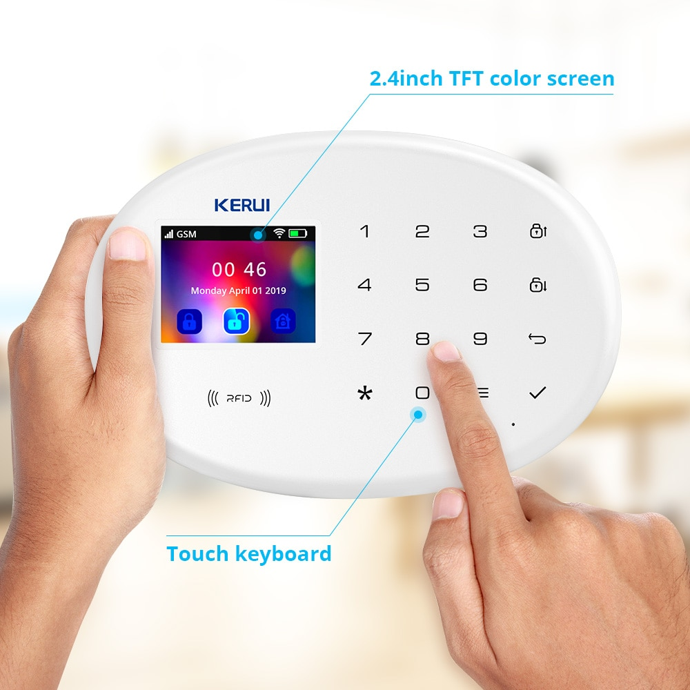KERUI GSM WiFil 2.4 Inch Touch TFT Touch Panel APP Control Home Security Smart RFID Card Wireless Panel Burglar Alarm System enlarge