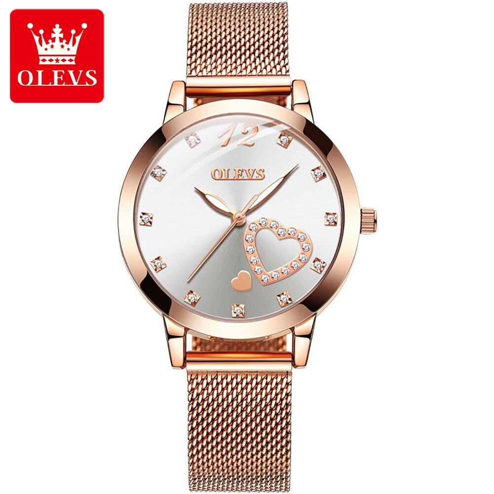 OLEVS Rose Gold Women's Watches Luxury Stainless Steel Strap Diamond Ladies Watch Fashion Quartz Fem