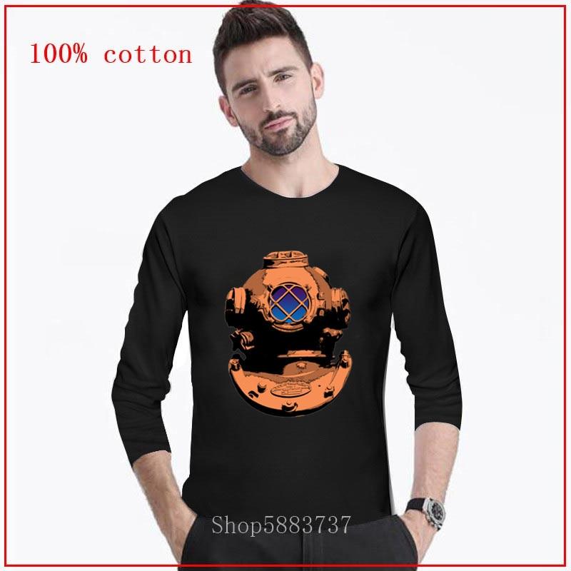 Camiseta 2020, Camiseta estilo Steampunk, casco de buceo, agua, corazones valientes, buceo profundo bajo el agua, cuello redondo, Camiseta larga de agua profunda