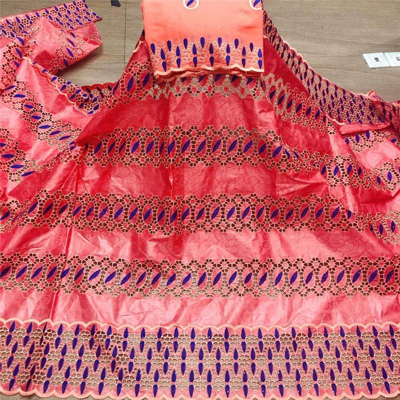 Africain bazin riche tissu avec brode dernière mode broderie bazin dentelle tissu avec net dentelle 7 yards HL053001