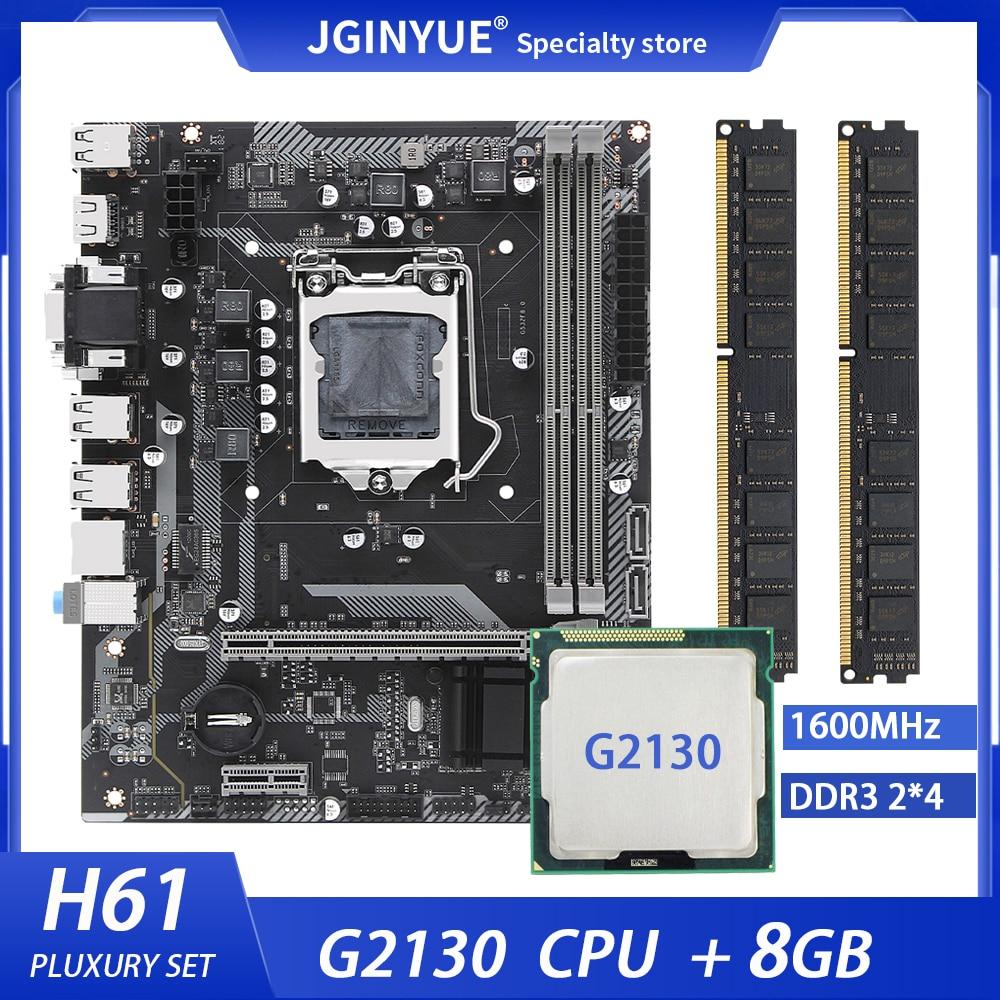 JGINYUE H61 LGA 1155 طقم لوحة رئيسية لسطح المكتب مع معالج إنتل G2130 وذاكرة 8 جيجابايت ذاكرة 1600 ميجاهرتز ram دعم VGA HDMI H61G532