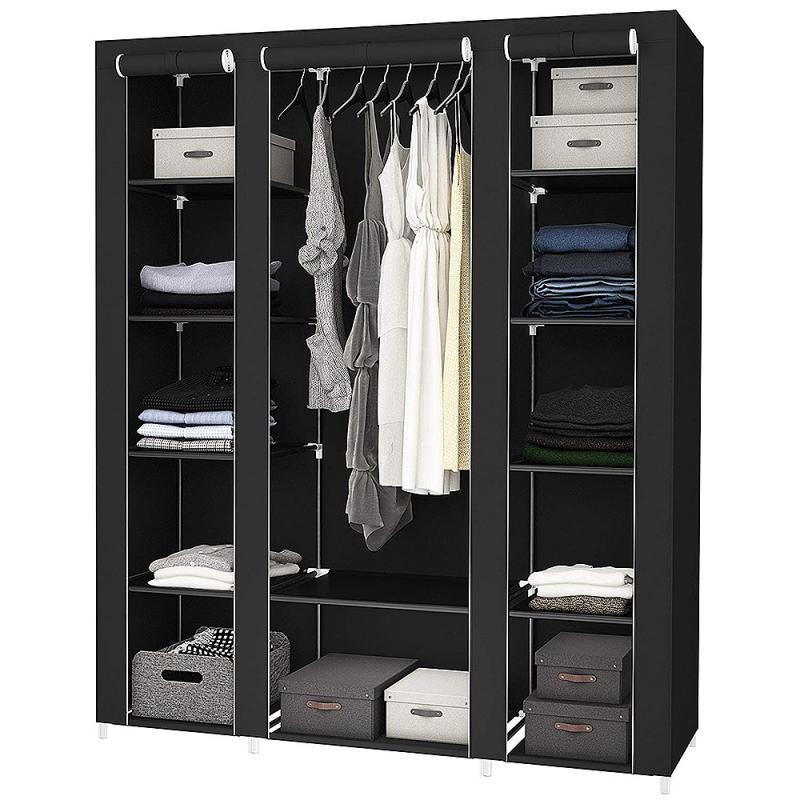 المحمولة الأسود غير المنسوجة أضعاف التخزين ثلاثة باب خزانة ملابس خزانة خزانة خزانة أثاث غرف النوم المنزلية