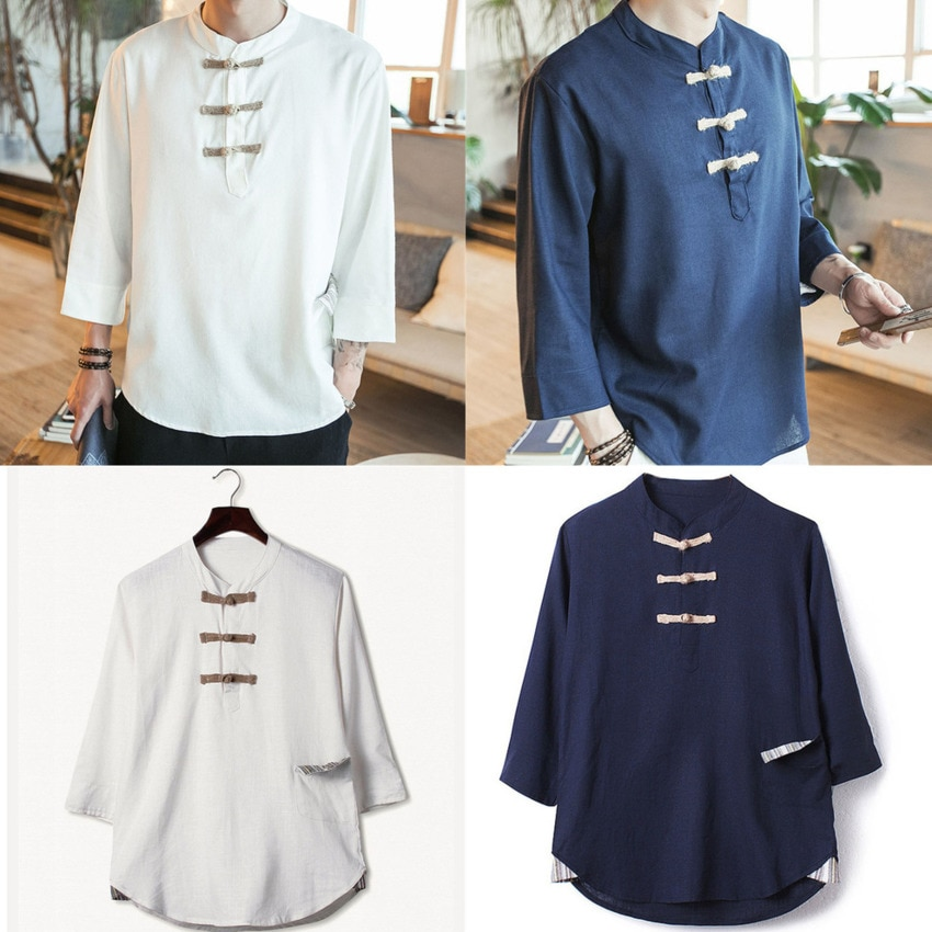 2020 Tangsuit ropa tradicional china para hombres mandarín Lino Collar Top blusa partido Cheongsam camisas chinas más M-5XL