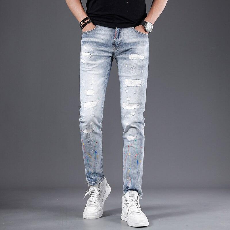 Корейский Стиль модные мужские джинсы для женщин в стиле ретро светильник синие джинсы с эластичной резинкой на Slim Fit рваные джинсы для мужч...