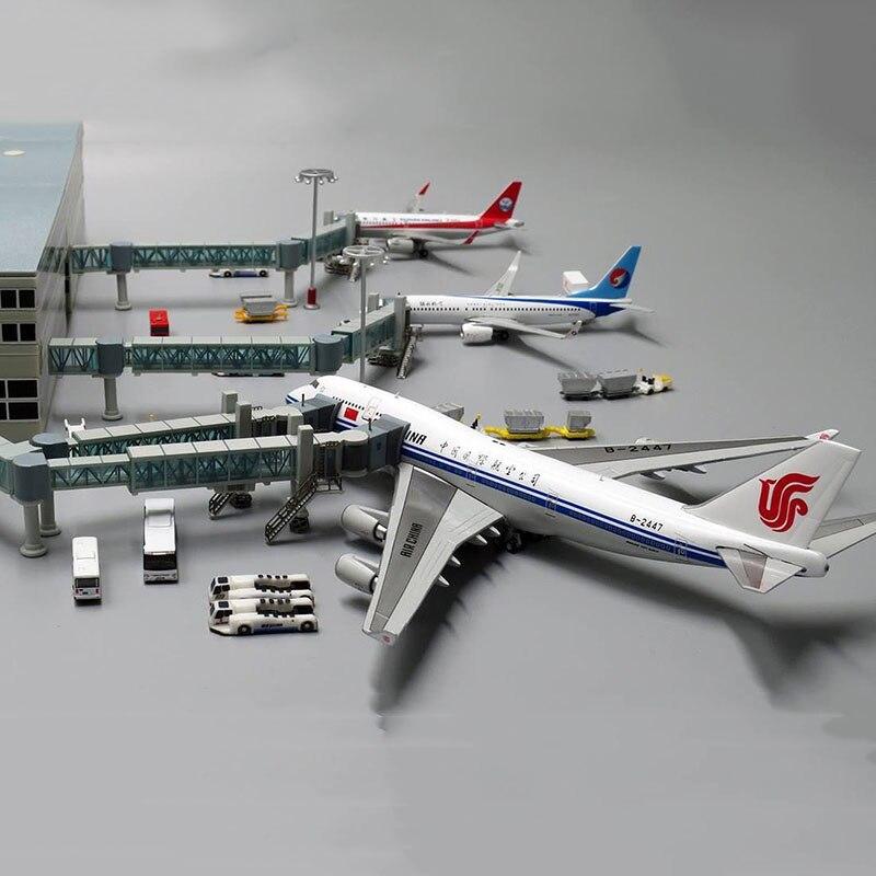 1400 puente de embarque de pasajeros del aeropuerto de un solo canal/doble para Airbus A380 modelo de avión de cuerpo ancho escena de juguete de exhibición