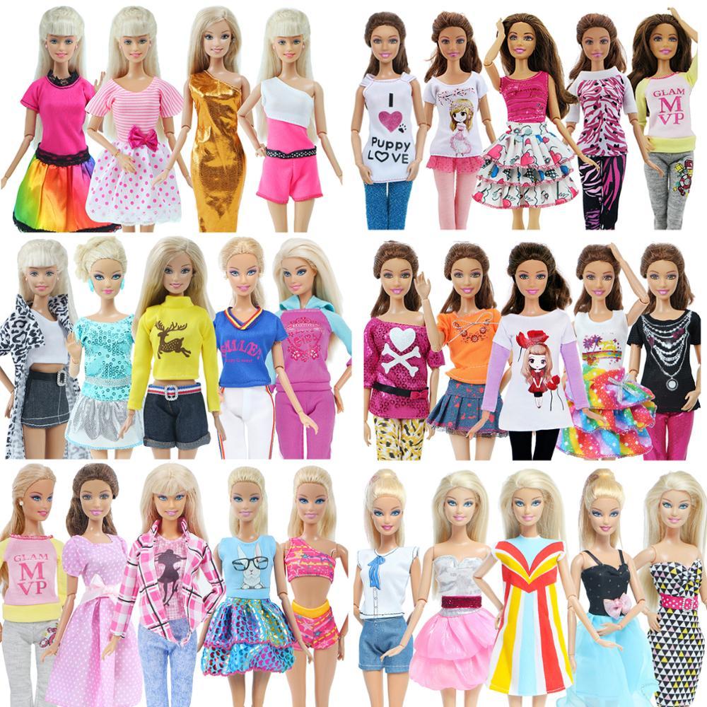 Barbie, 5 pièces, vêtements quotidiens à la mode, gilet tenues décontractées, chemise et jupe pantalon, robe de poupée, accessoires pour maison