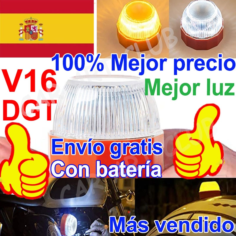 HELP LED V16 Dgt Emergency light SOS homologada DGT Approved Flash safety lamp warning Amber white strobe Road Accident light