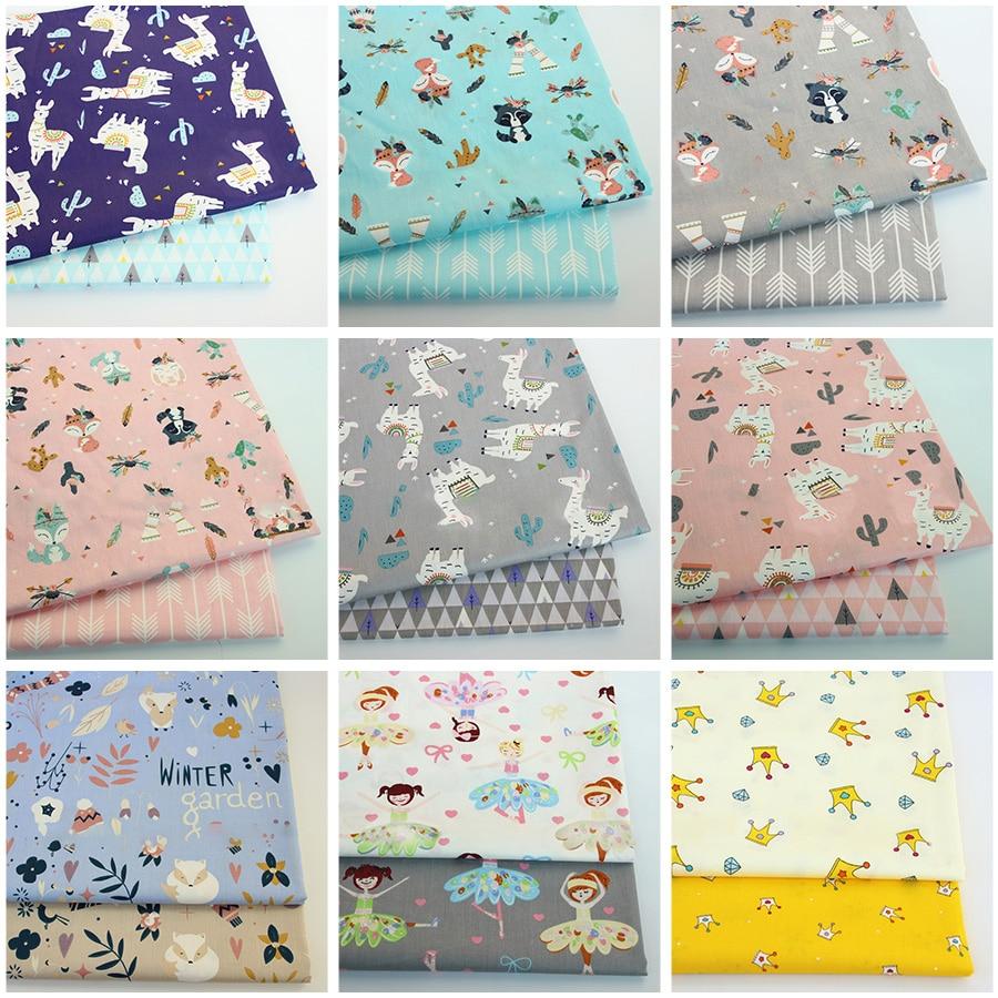 133*72 tela tejida de sarga de algodón de impresión de dibujos animados ropa de cama tejido de costura 2 colores/conjunto TJ1170