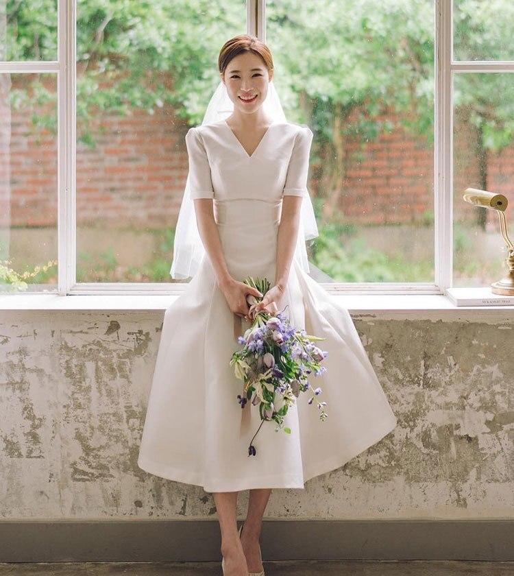 فستان زفاف مثير برقبة على شكل V ، ملابس بحر ، مقاس كبير ، مع غطاء خلفي ، 2021