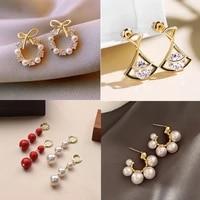 elegant exquisite simulation long pearl earring women fashion bow flower rhinestone pendant drop earrings wedding party jewelry