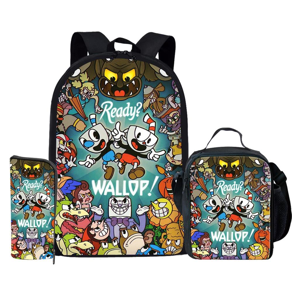 Kid's Cuphead Game Mugman Mochila Students Backpack Shoulder Bag Travel School Bag for Teenagers Casual Mochila