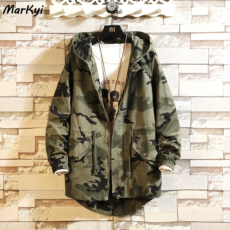 MarKyi 2020 New Winter Camouflage Mens Windbreaker Coat Male Outwear Plus Size Casual Streetwear Jacket Men