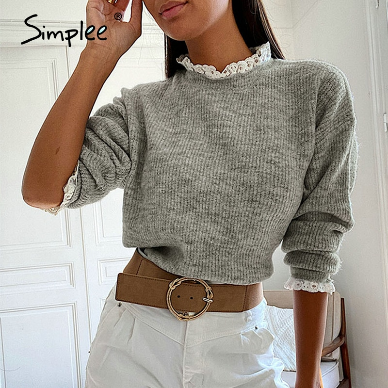 Simplee Grey Round Neck Lace Edge women's sweater Long sleeve splicing fashion Pullover High street style autumn sweater 2020