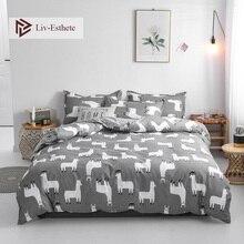 Liv-Esthete Cartoon Alpaca Bedding Set Gray Duvet Cover Bedspread Flat Sheet Pillowcase Single Double Queen King Bed Linen