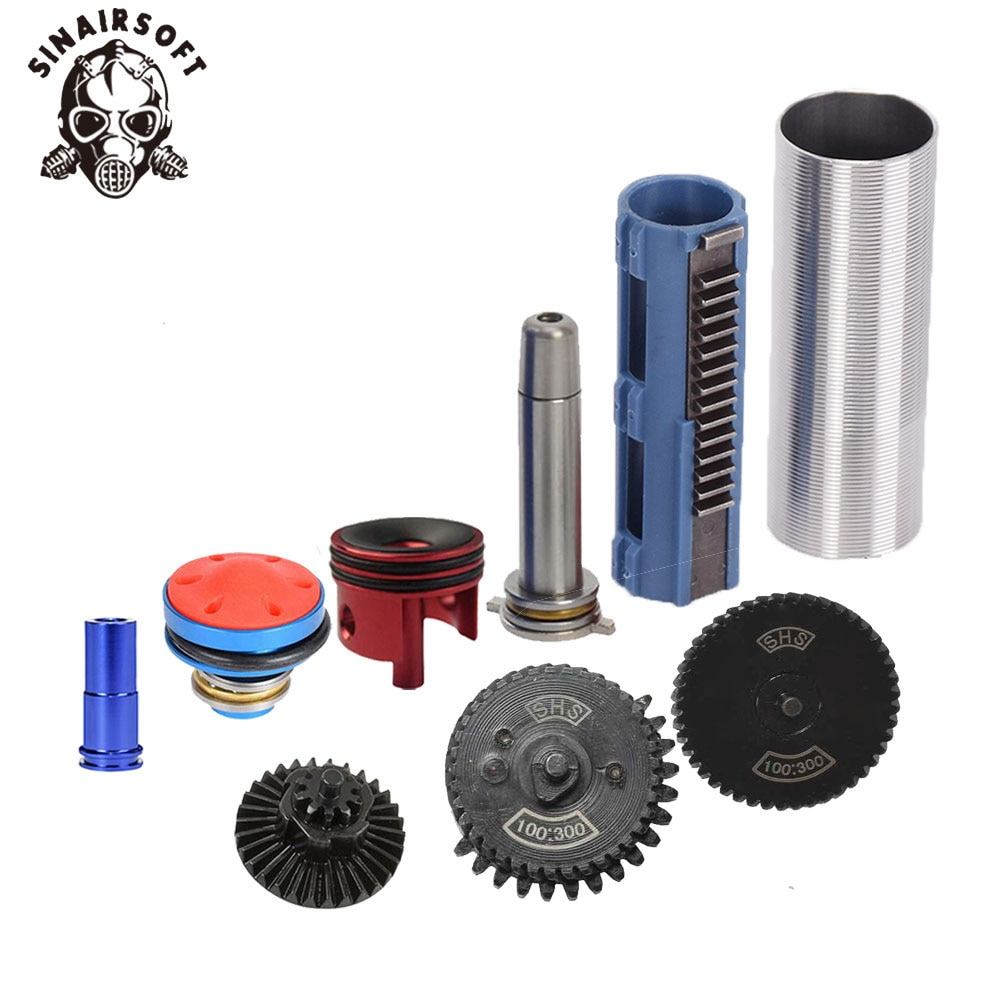 SINAIRSOFT 100:300 Gear Nozzle Cylinder Spring Guide 14 Teeth Piston Kit Fit Airsoft M4 MP5 AK G36 For Paintball Hunting Target