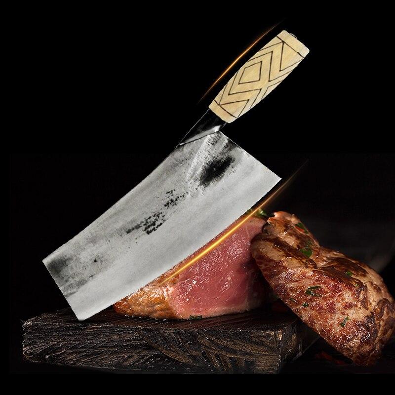 """8 """"нож для мясника шеф-повара КИТАЙСКИЙ ручной работы кованый Высокоуглеродистый стальной нож для нарезки мяса кухонный нож с деревянной ручкой"""
