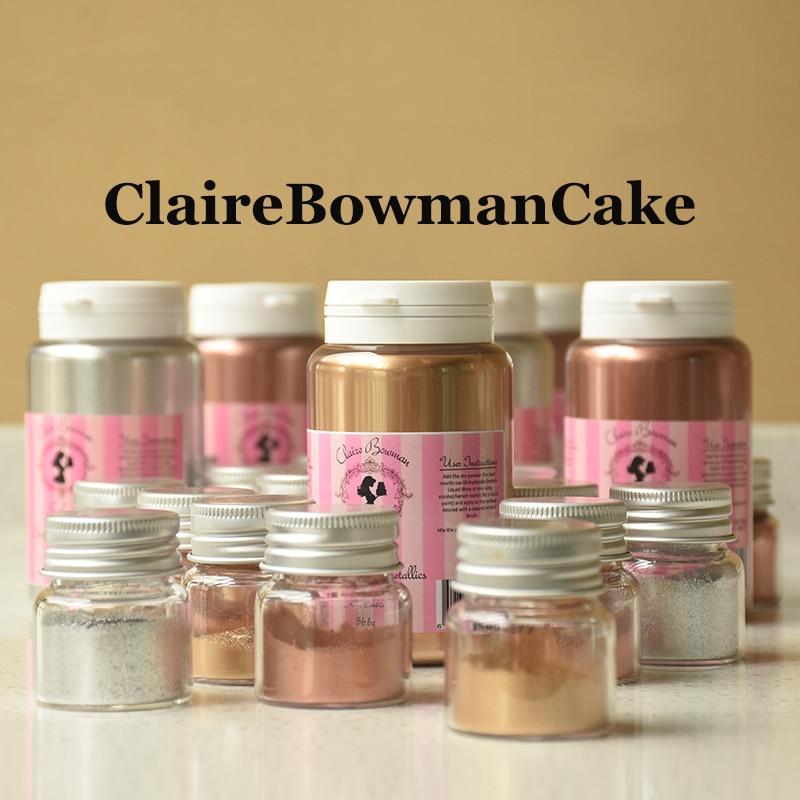 ClaireBowmanCake polvo de oro comestible para hornear torta Fudge macarrón Chocolate brillo de decoración en polvo bronce plata en polvo