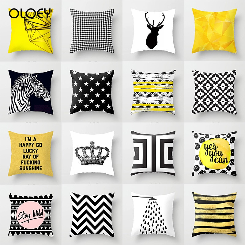 Litchi travesseiro geométrico nórdico de poliéster, peel de pele 45x45cm, fronha decorativa amarela, decoração para casa e hotel caso.