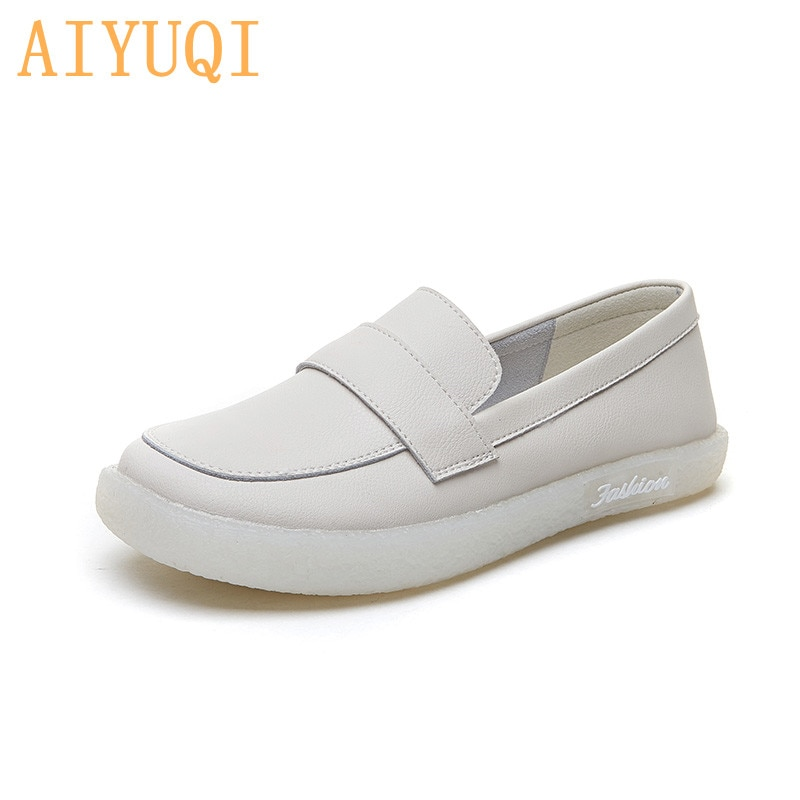 AIYUQI Women's sneakers Large Size Genuine Leather Ladies Spring Shoes Lace up British style White Shoes Women