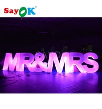 1.2 M H X 6.17 M L Opblaasbare Mr & Mrs Brieven Met Led Licht Voor Valentijnsdag Wedding anniversary Party Decoraties