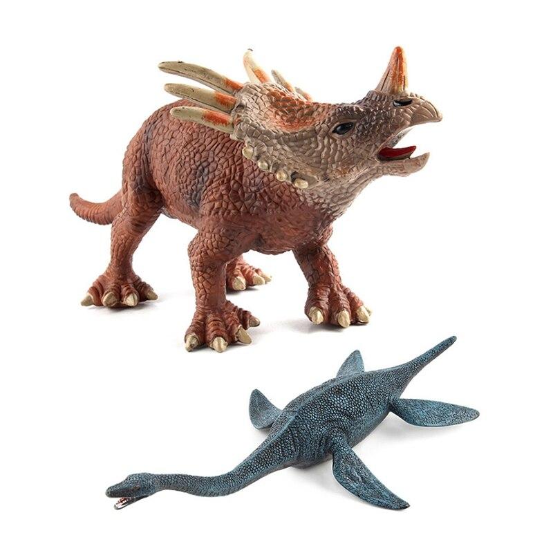2 pièces grande taille jurassique vie sauvage en plastique jouer jouets modèle de dinosaure, Styracosaurus dinosaure jouet et plesiosaure dinosaure jouet