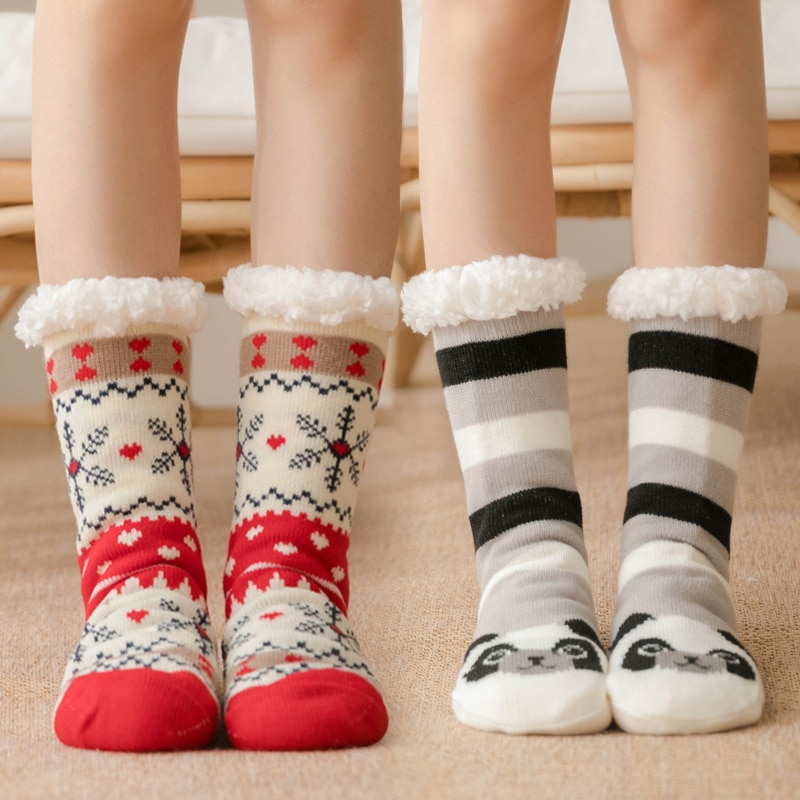 Winter Women Warm Socks Cotton Knit Floor Non-slip Super Thicken Soft Socks Girl Plus Velvet Keep Warm Female Sock