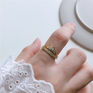 DAIWUJAN Korean Style 925 Sterling Silver Romantic Zircon Open Rings High Quality Gold Finger Rings Set for Women Party Jewelry