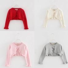 Baby Girl Cadigan Long Sleeve Little Girl Cotton Knitted Sweater Jacket Toddler Shrug Coat Infant Cr