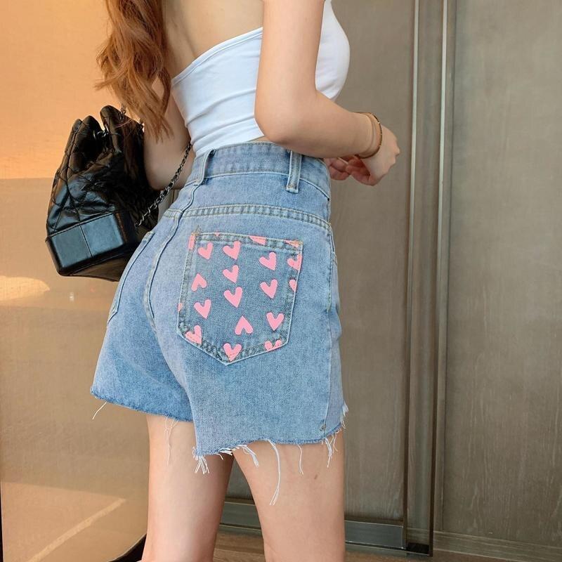 Pink Love Printed Jeans Shorts Summer Women Korean Fashion High Waist Straight Denim Shorts Yellow Heart Sweet Thin Streetwear