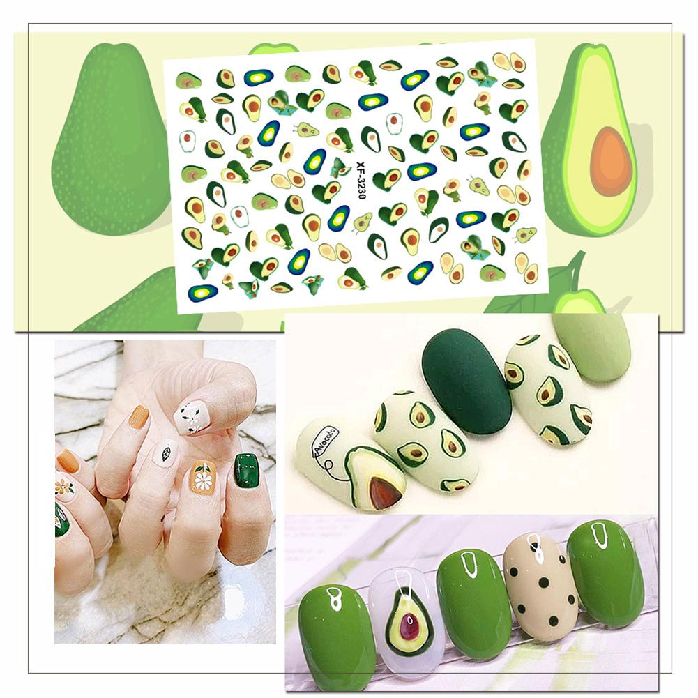 HOT!!!Waterproof Avocado Leaf Cactus Nail Sticker Full Cover DIY Adhesive Decor nail art Non-toxic Nail sticker Multi-pattern