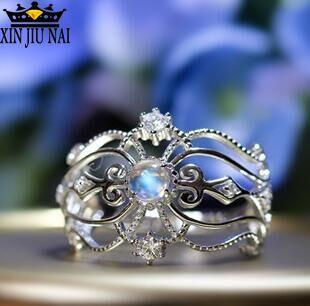 Элегантные и уникальные роскошные кольца для женщин с лунным камнем, милая ажурная Корона Снежной королевы, Опаловое кольцо из нержавеющей стали, кольца для женщин
