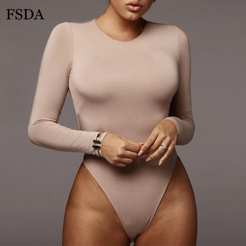 FSDA O Neck Long Sleeve Solid White  Bodysuit Women Black Autumn Winter Body Top Gray Casual Lady Streetwear Bodysuits