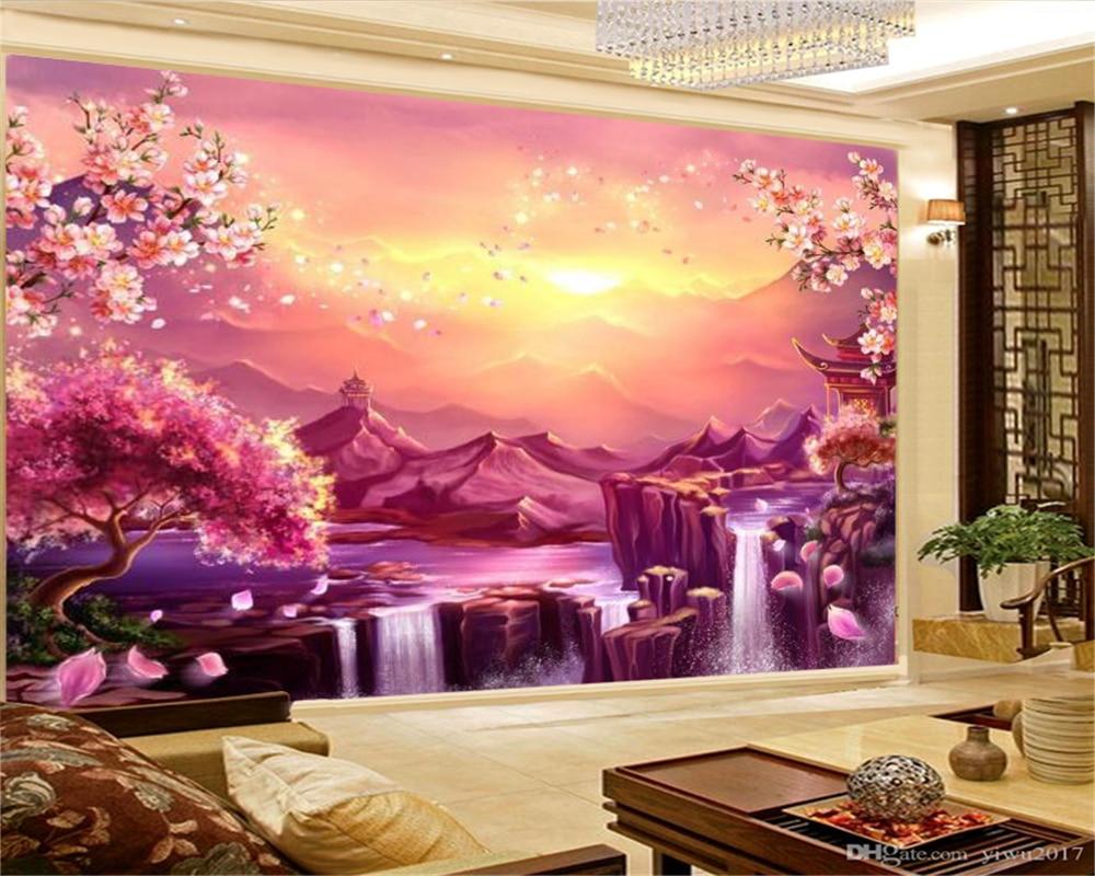 Papel tapiz 3d para decoración del hogar, papel tapiz con bonita cascada de flor de melocotón, Impresión de paisaje de Dreamland rojo, papel tapiz 3d